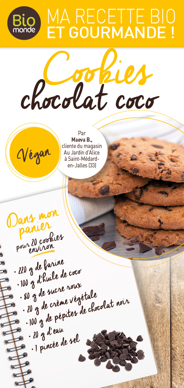 Cookies Chocolat coco - Ingrédrients