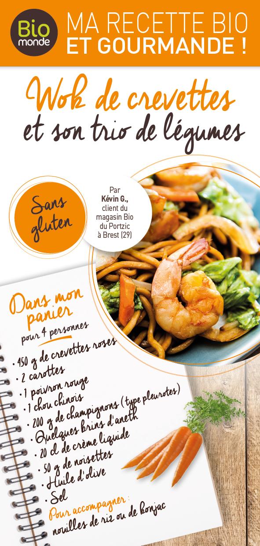 Wok de crevettes et son trio de légumes - Ingrédients